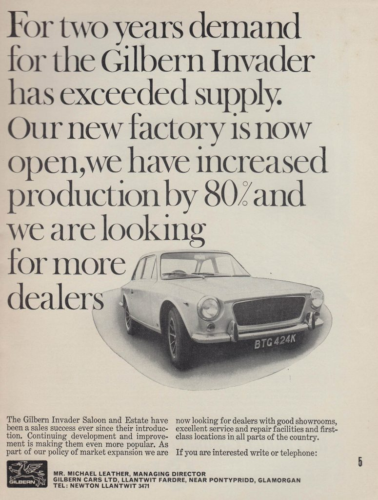 Gilbern Dealer Advert 1972 featuring the Gilbern Invader
